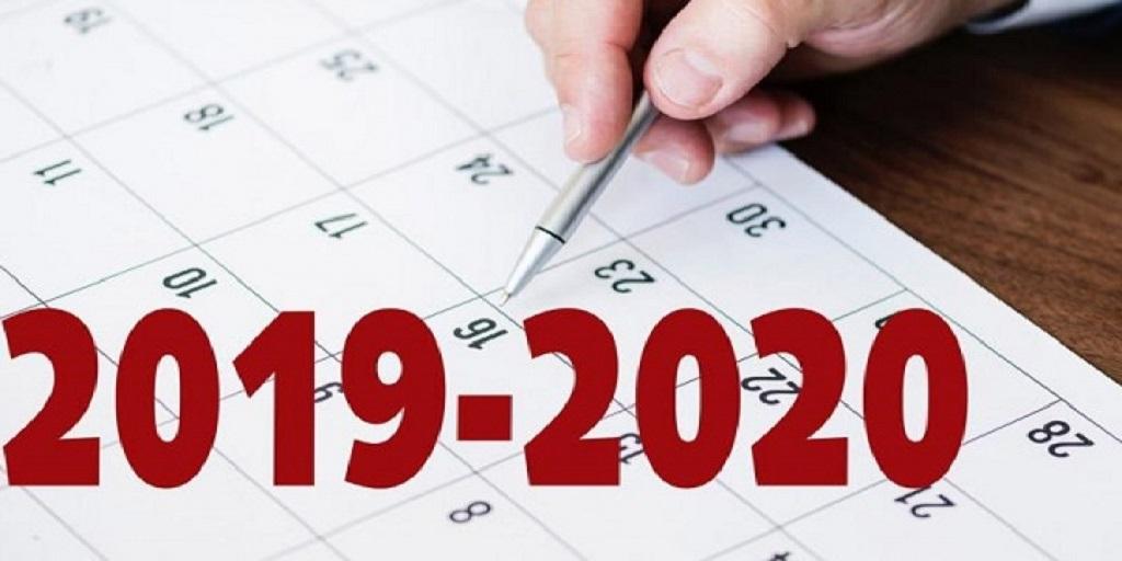 Calendriers année universitaire 2019-2020